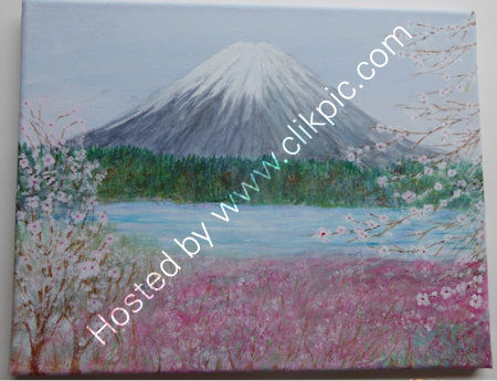 Mount Fuji    An acrylic painting, on a stretched canvas block frame. W=36 cms + h=28 cms