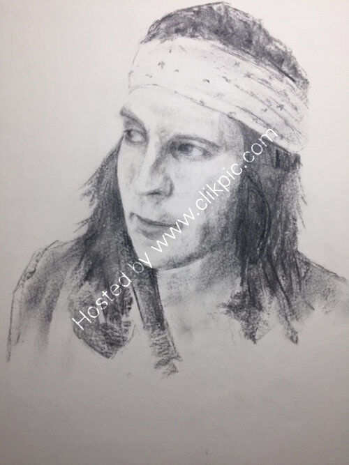 Neol Fielding, A3 charcoal by Colin Kitchen