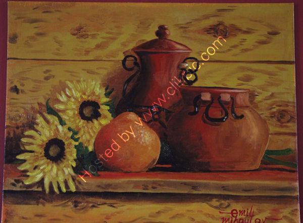 'Orange and Sunflowers', oil on canvas board, 41cm (h) x 51cm (w), 16''(h) x 20'' (w)