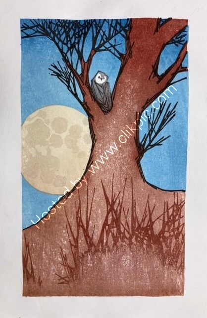 Japanese woodblock Owl by Laura boswell 2021