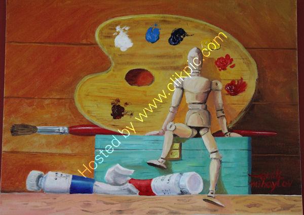 'Resting Artist', oil on canvas board, 40cm (h) x 51cm (w), 16'' (h) x 20'' (w)