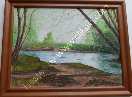 River Ouse    Oil on board, mounted in picture frame.  W=46 cms + h=36 cms  overall frame size