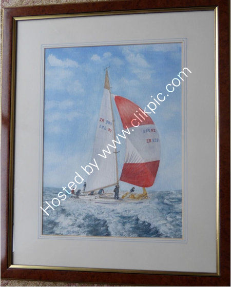 Spinnaker up    Water colour painting, mounted in picture frame. W=46 cms + h= 56 cms. Overall frame size