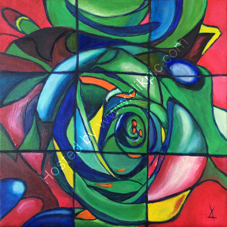 Stained glass rose - acrylics