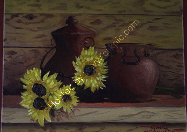 'Sunflowers and Pots', oil on canvas board, 40cm (h) x 51cm (w), 16'' (h) x 20'' (w)