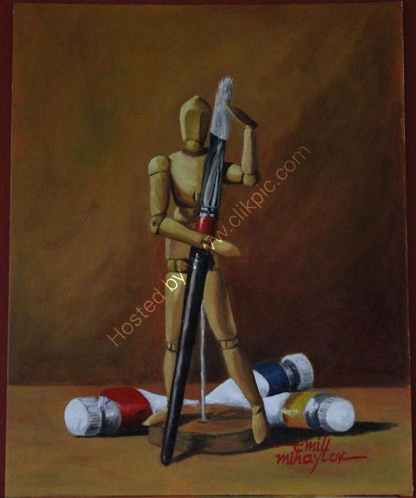 'The Little Artist', oil on canvas board, 51cm (h) x 40cm (w), 20'' (h) x 16'' (w)