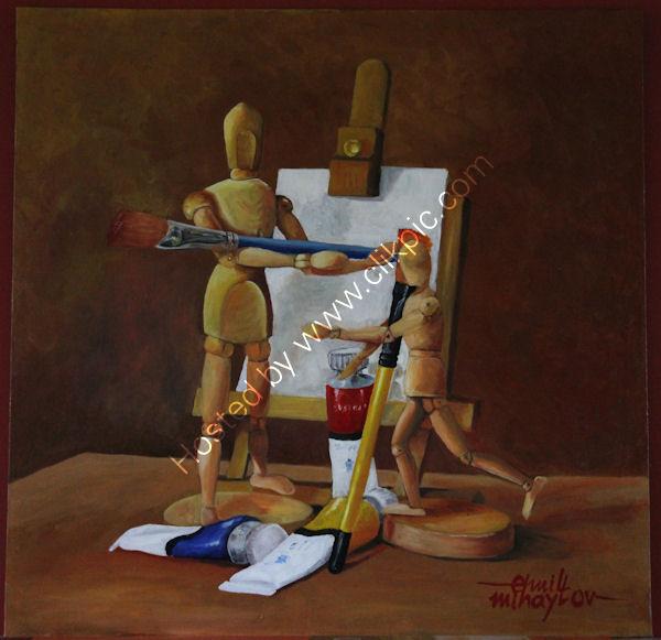 'The Master and the Apprentice', oil on canvas board, 60cm x 60cm, 24'' x 24''