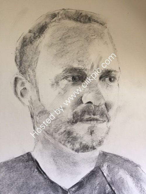 Will Young, A3 charcoal by Colin Kitchen