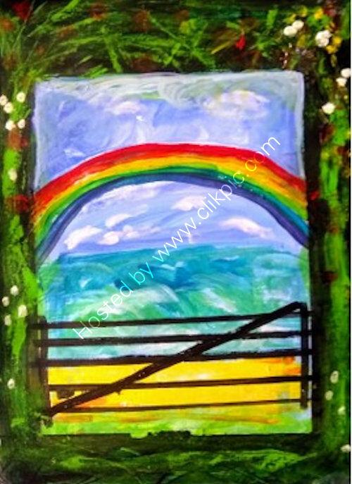 acrylic 16x12 inches, rainbow