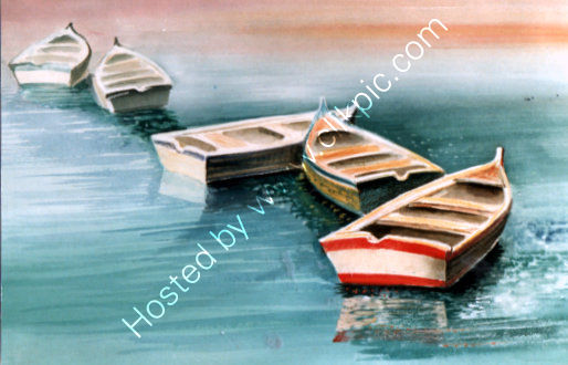 bobbing boats in Gouache 1970