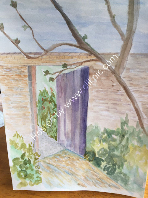 gateway at Charleston Farmhouse in Sussex, watercolour