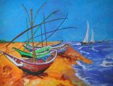 Fishing Boats on the beach at Saints Maries after Van Gogh