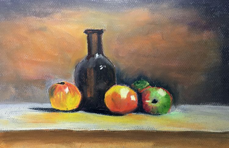 Bottle and Fruit in Colour