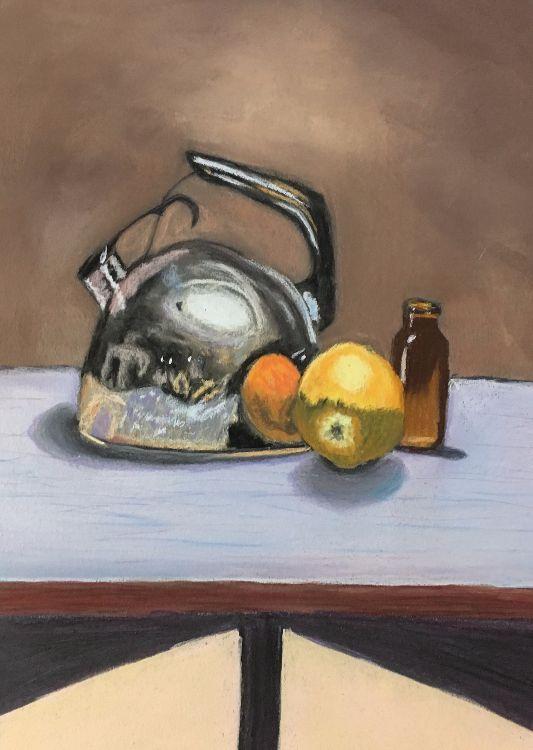 Kettle, Orange and Bottle