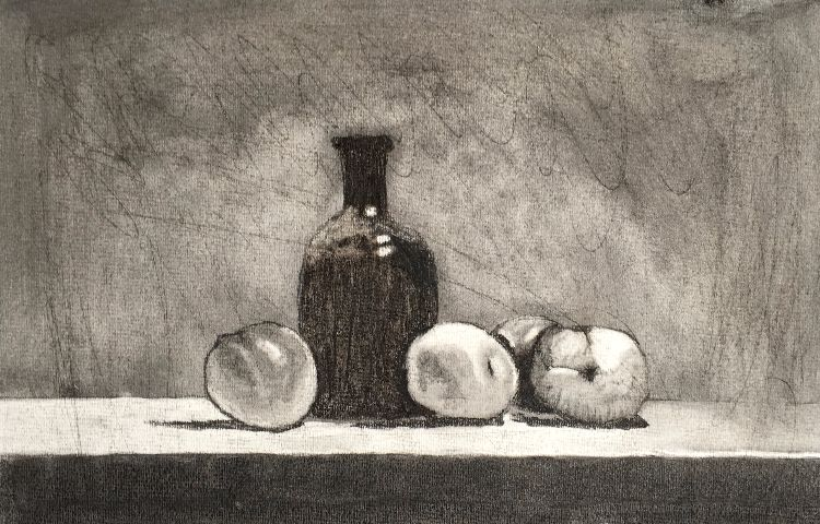 Still Life Bottle and Apples