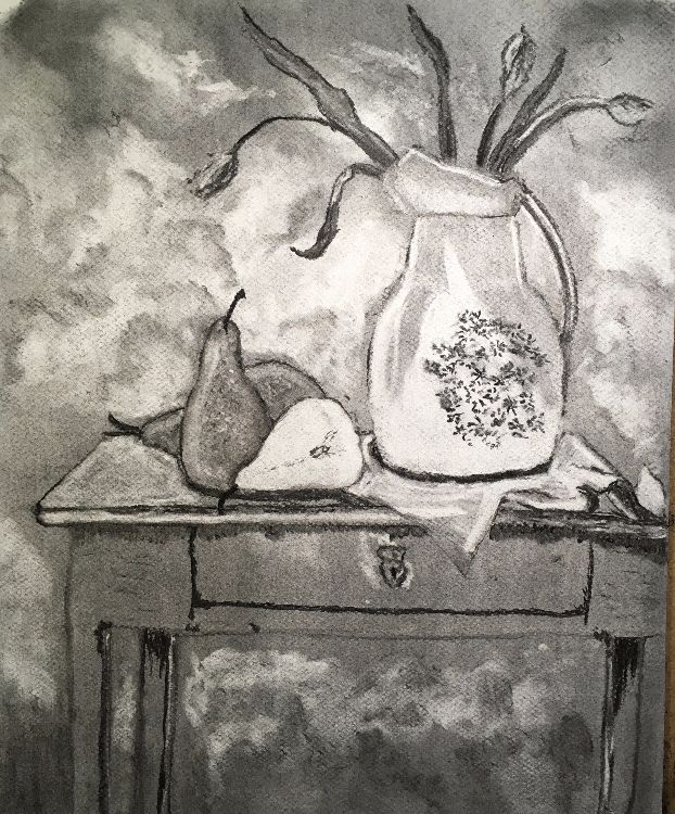 Vase & Pears in Charcoal