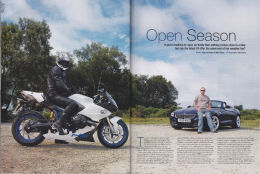 BMW Car magazine Z4 v bike twin test photo feature