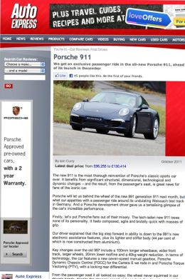 Auto Express Porsche 911 launch online article