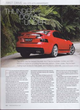 HSV GTS First Drive article, Performance Car Magazine