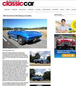Australian Classic Car StingRay article
