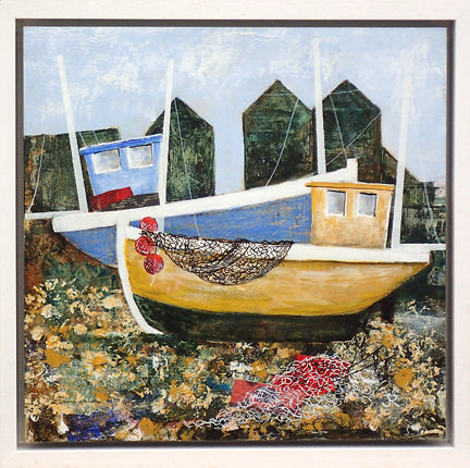 John Russell Yellow and Blue boats and net huts