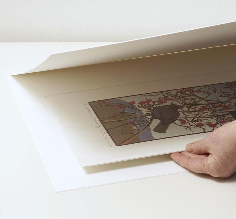 Placing card around unframed work