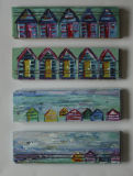 4 sets of beach huts on wood