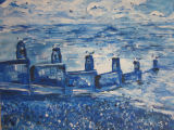 Blue Breakwater and Gulls - Acrylic Painting