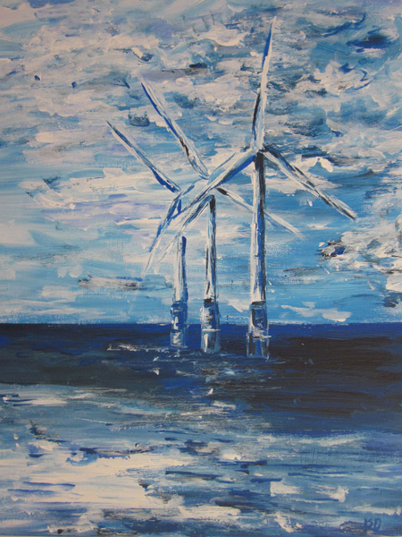 Blue Turbines - Acrylic Painting