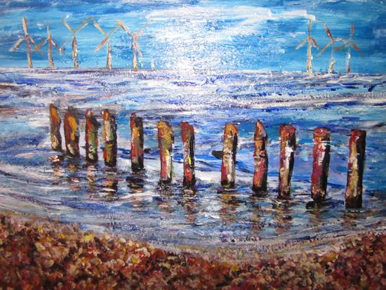 Breakwater and Turbines - Acrylic Painting