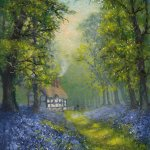 Bluebells with cottage