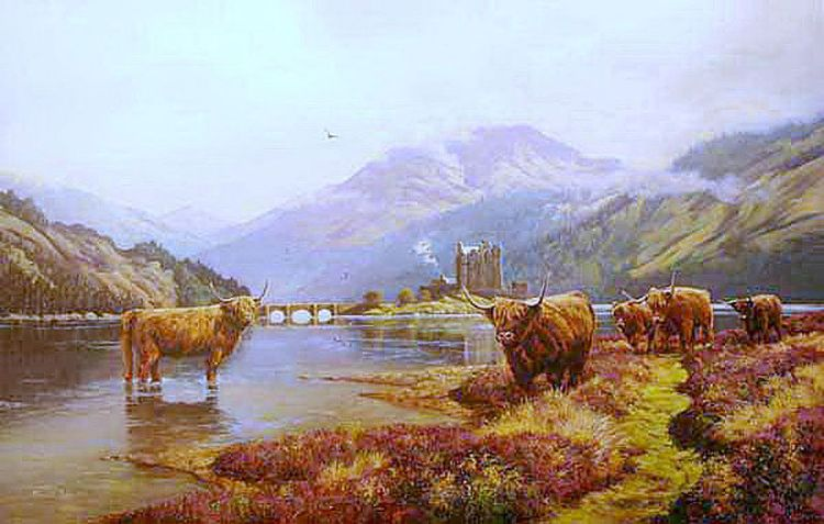 Eilean Donan with Highland Cattle
