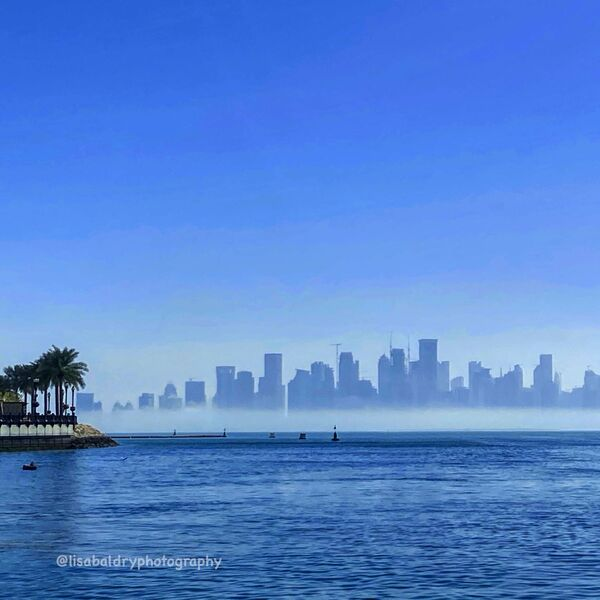 Nature vs Architecture : Westbay in Mist, Doha