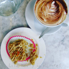 """""""Afternoon Tea"""" : Apricot Flapjack and coffee"""