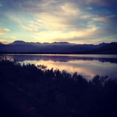Peace and tranquility .. sunset when out for a bike ride : Paul Cluver Wines, Grabouw, South Africa