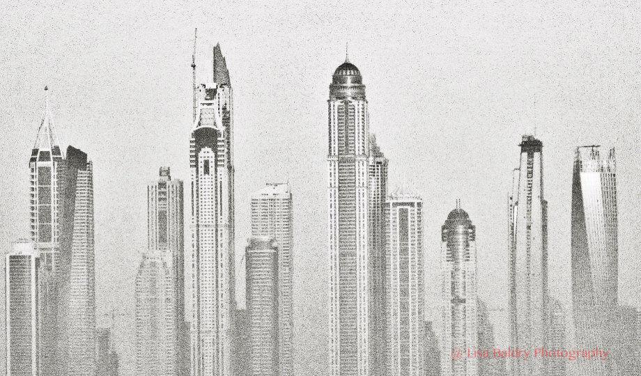 Dubai Skyline in a dusty mist (black and white)