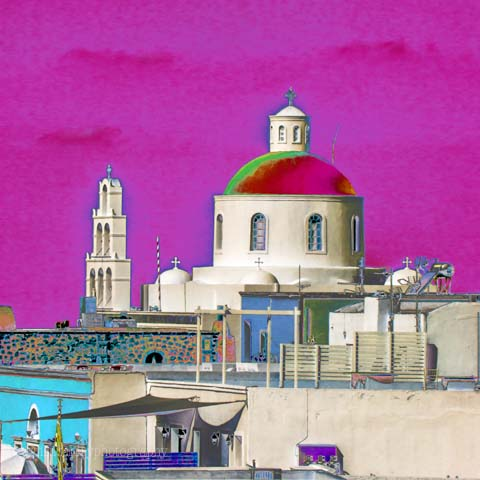 Santorini Pink : Watercolour