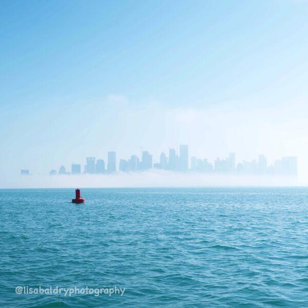 Nature vs Architecture : Westbay in Mist, Doha