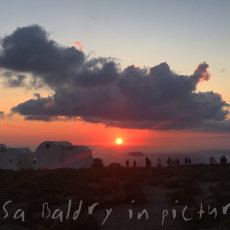A beautiful sunset from Pyrgos in Santorini