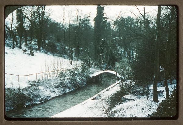The Old Packhorse Bridge Near Hambrook. Now long gone and the site of the ring road. May 1979