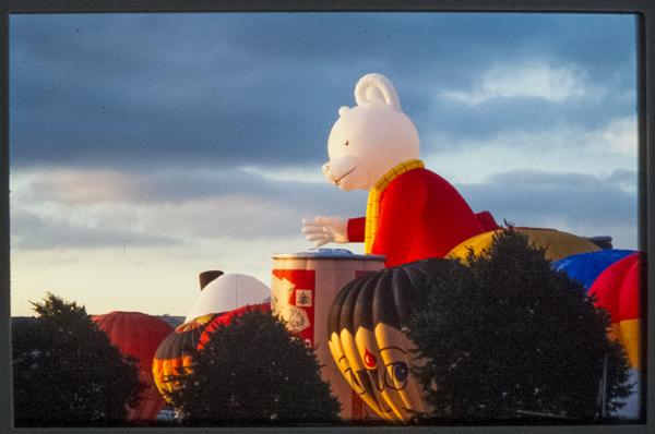 The Rupert Bear Balloon at Ashton Court Balloon Fiesta. 1992.