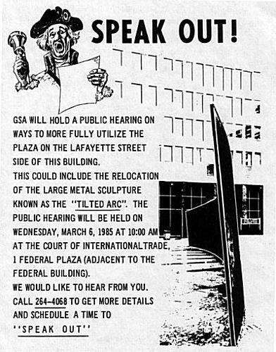Tilted Arc demonstration leaflet