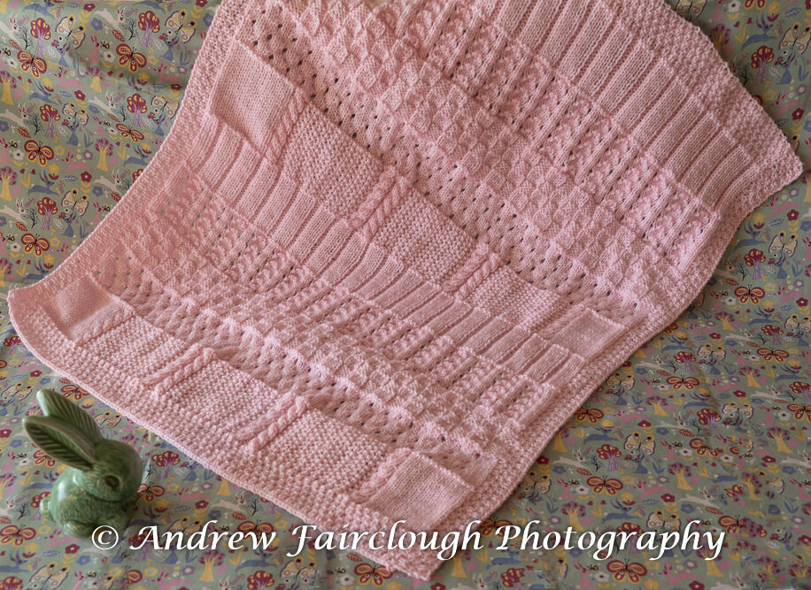 Pink Baby Blanket - Four Edges Ribbed.
