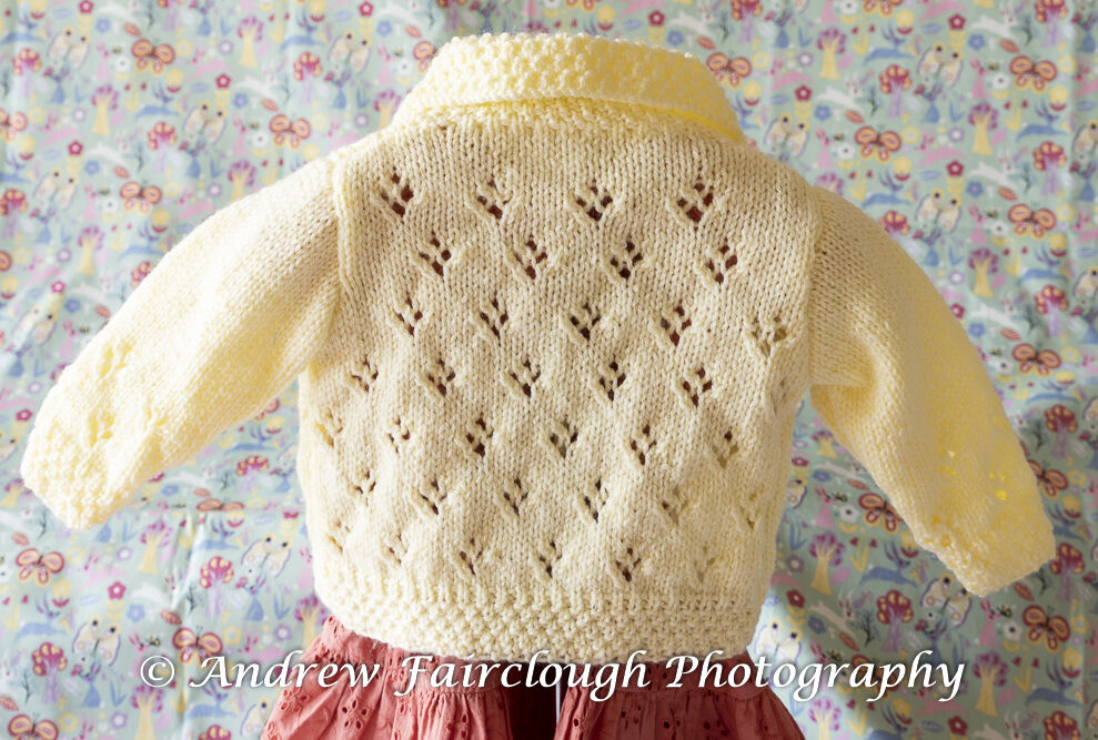 Four Hole Lace Collared Cardigan including measurements- Yellow