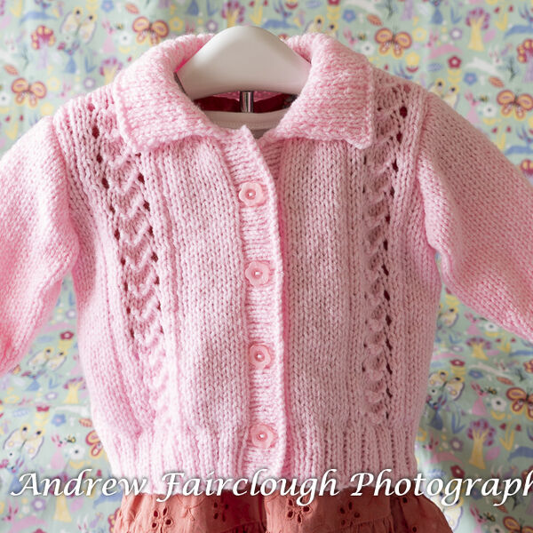 Little Shell Lace Collared Cardigan - Pink