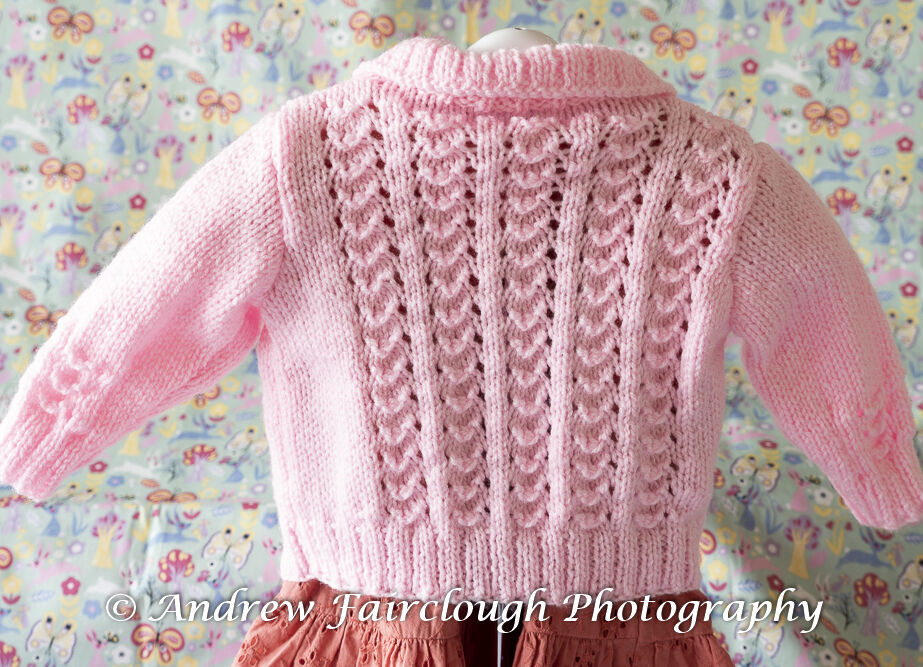 Little Shell Lace Collared Cardigan including measurements - Pink.