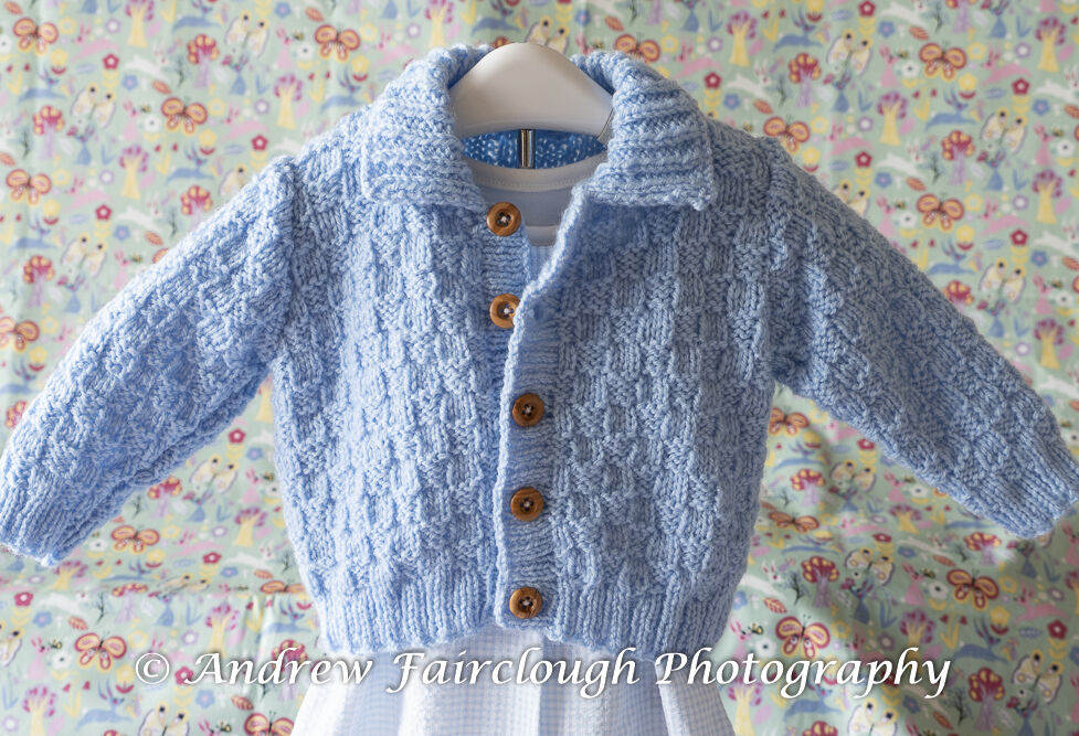 Basket Weave Collared Cardigan - Blue