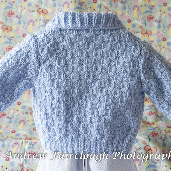 Basket Weave Collared Cardigan- Blue including measurements