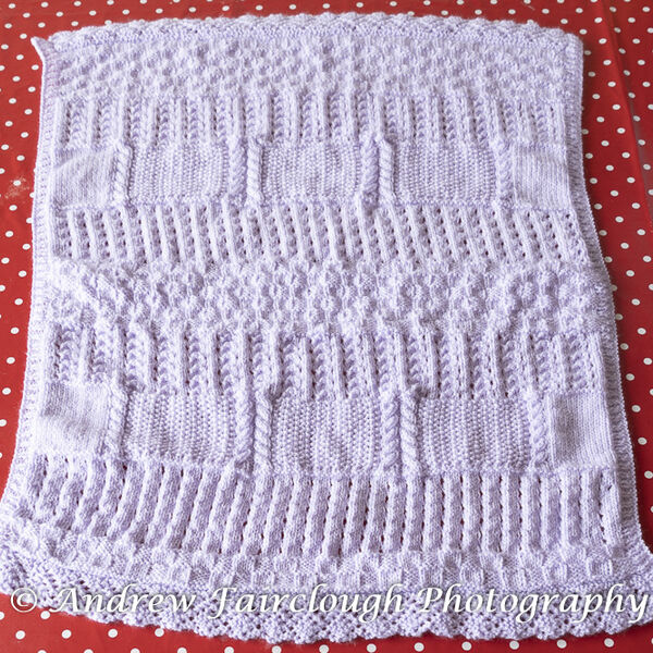 Lilac Baby Blanket - Two Edges Lace and Two Edges Ribbed.