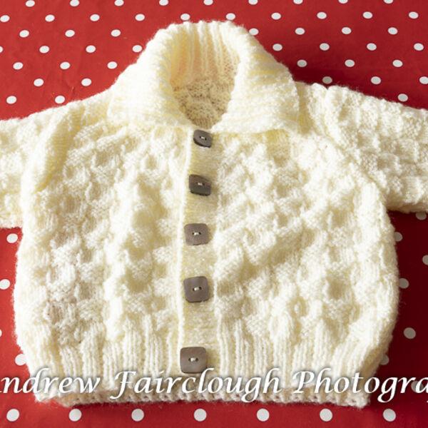 Basket Weave Collared Cardigan - Plain Cream.